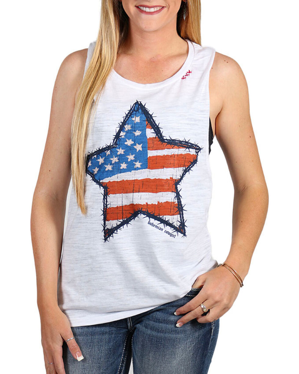 Bohemian Cowgirl Women's Flag Star Tank, White, hi-res