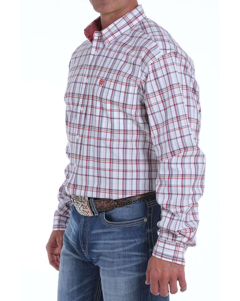 Cinch Men's Large White Plaid Long Sleeve Western Shirt , White, hi-res