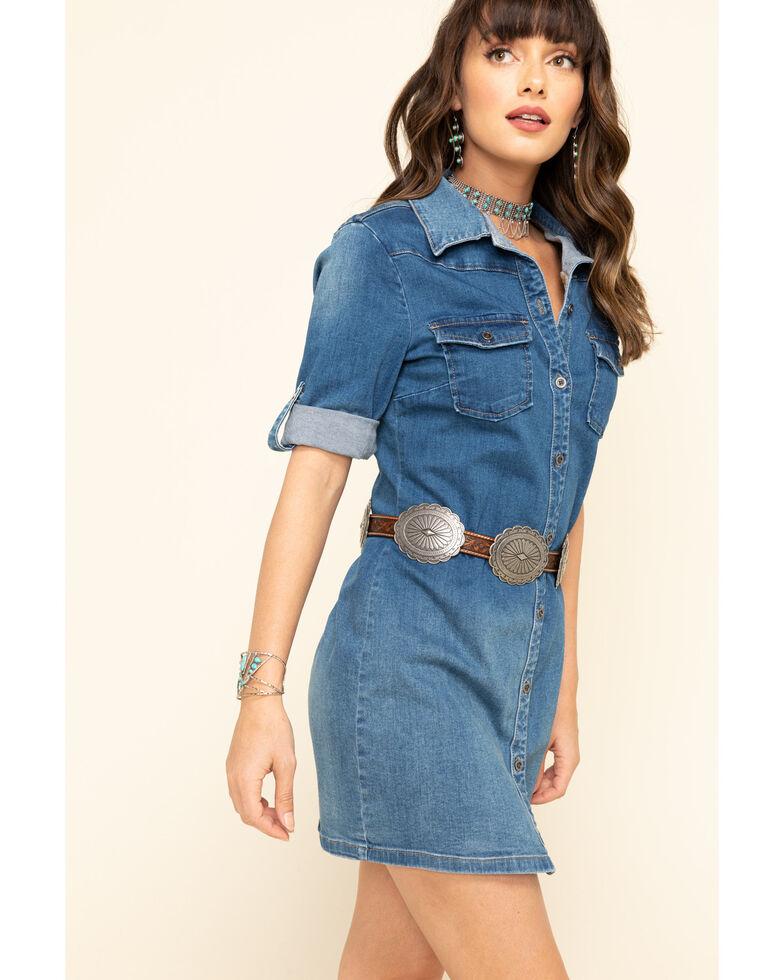 Billy T Women's Medium Wash Button Down Short Sleeve Denim Dress , Blue, hi-res