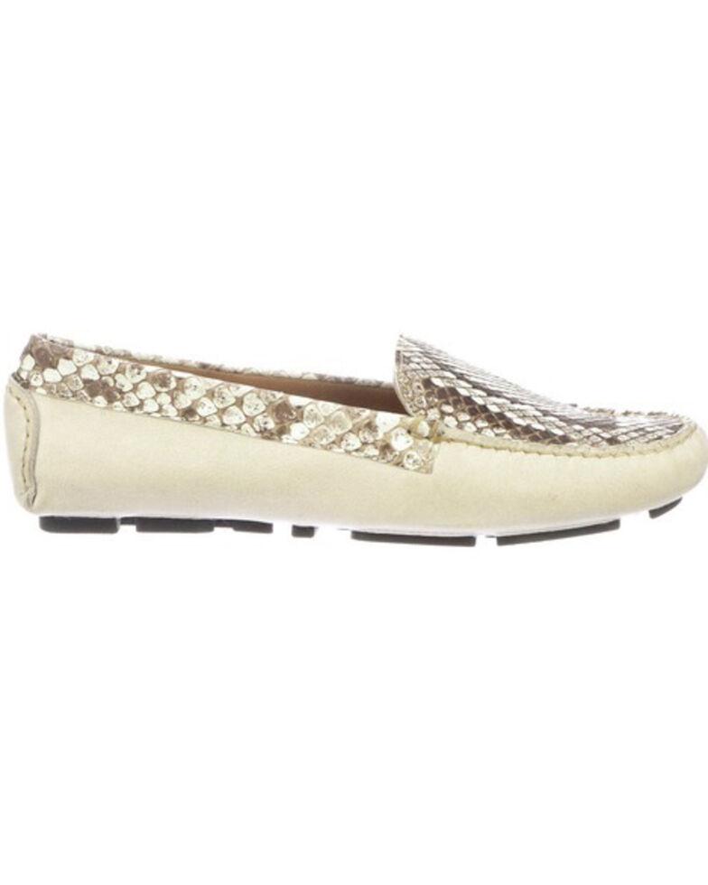 Lucchese Women's Lori Python Plug Driving Shoes - Moc Toe, Ivory, hi-res
