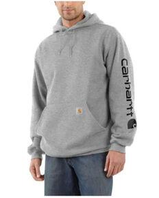 Carhartt Men's Mid Weight Hooded Logo Work Sweatshirt , Heather Grey, hi-res