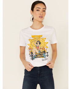 Wrangler Women's Sassy Cowgirl Pinup Graphic Short Sleeve Tee , White, hi-res