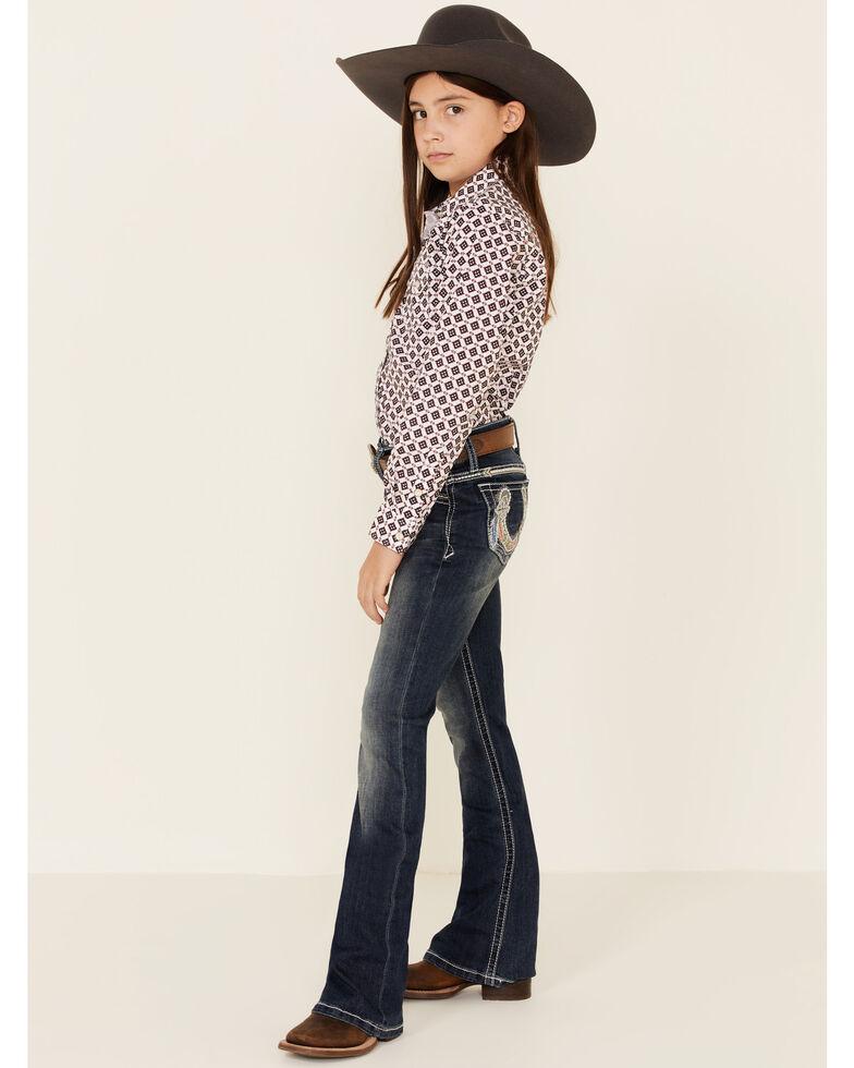 Grace In LA Girls' Horseshoe Embellished Pocket Bootcut Jeans, Blue, hi-res
