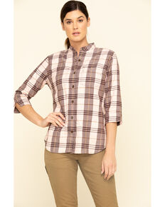 Carhartt Women's Deep Wine Relaxed 3/4 Sleeve Plaid Shirt , Wine, hi-res
