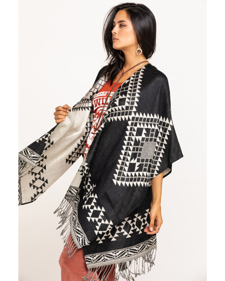 Shyanne Women's Multi Aztec Printed Shawl , Black, hi-res