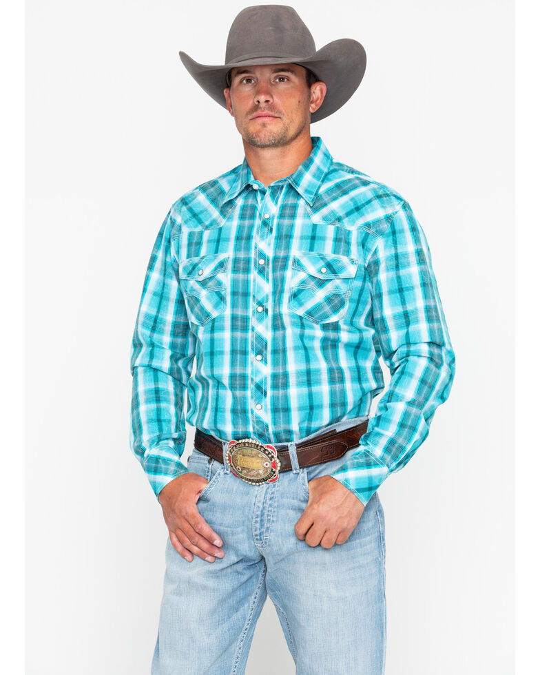 Rock & Roll Denim Men's Poplin Plaid Snap Long Sleeve Western Shirt , Blue, hi-res