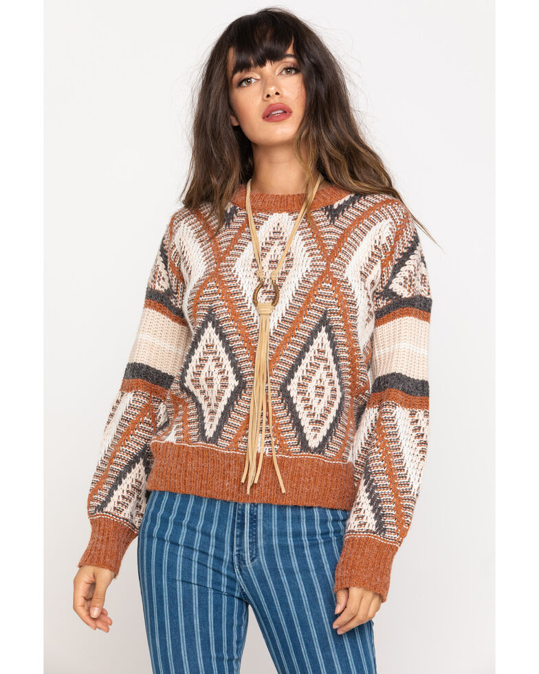 Pol Women's Brick Aztec Pullover Sweater, Red, hi-res