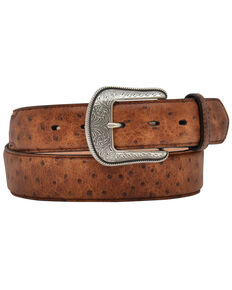 3D Vintage Ostrich Print Leather Belt, Tan, hi-res