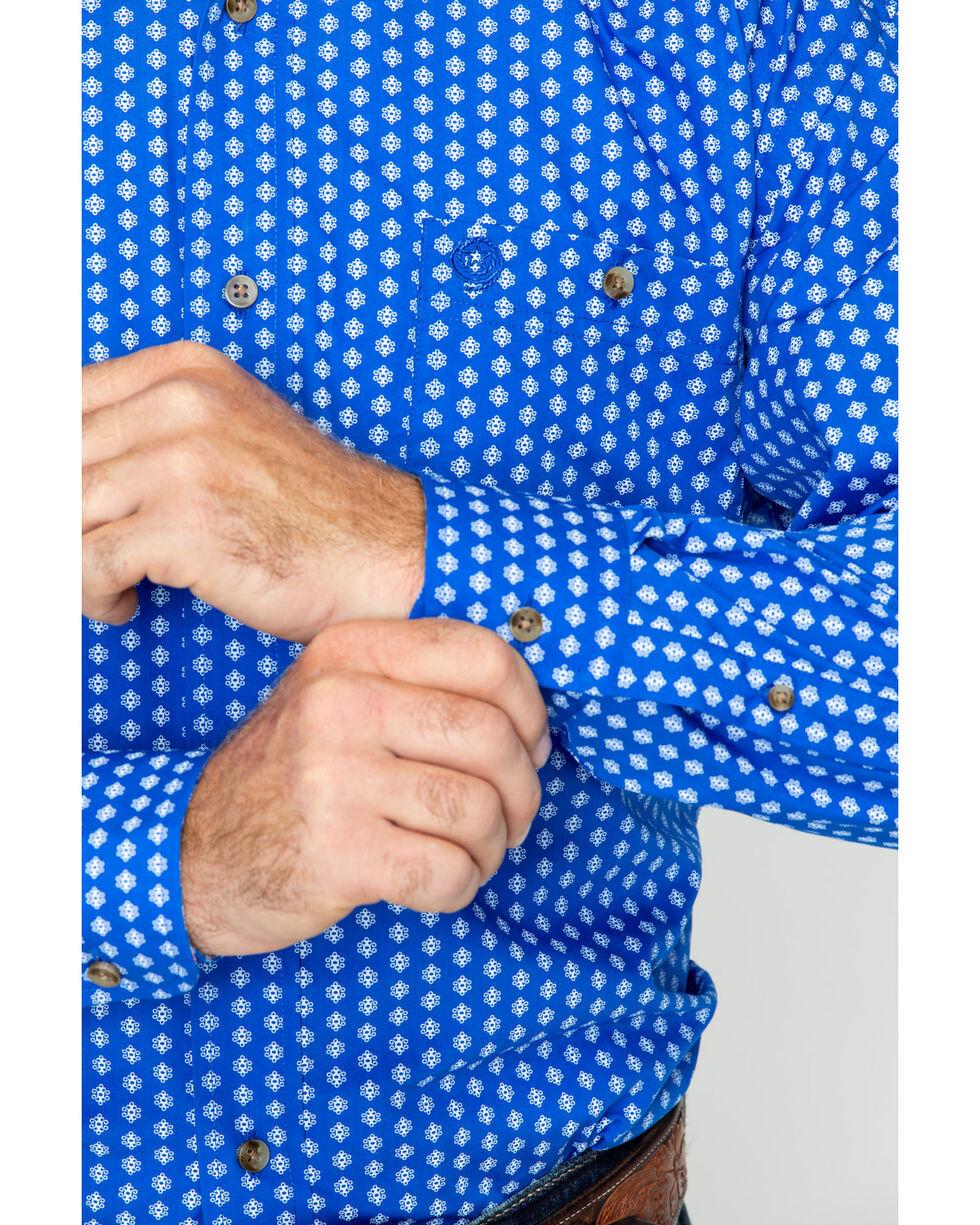 George Strait by Wrangler Men's Geo Print Long Sleeve Shirt , Blue/white, hi-res