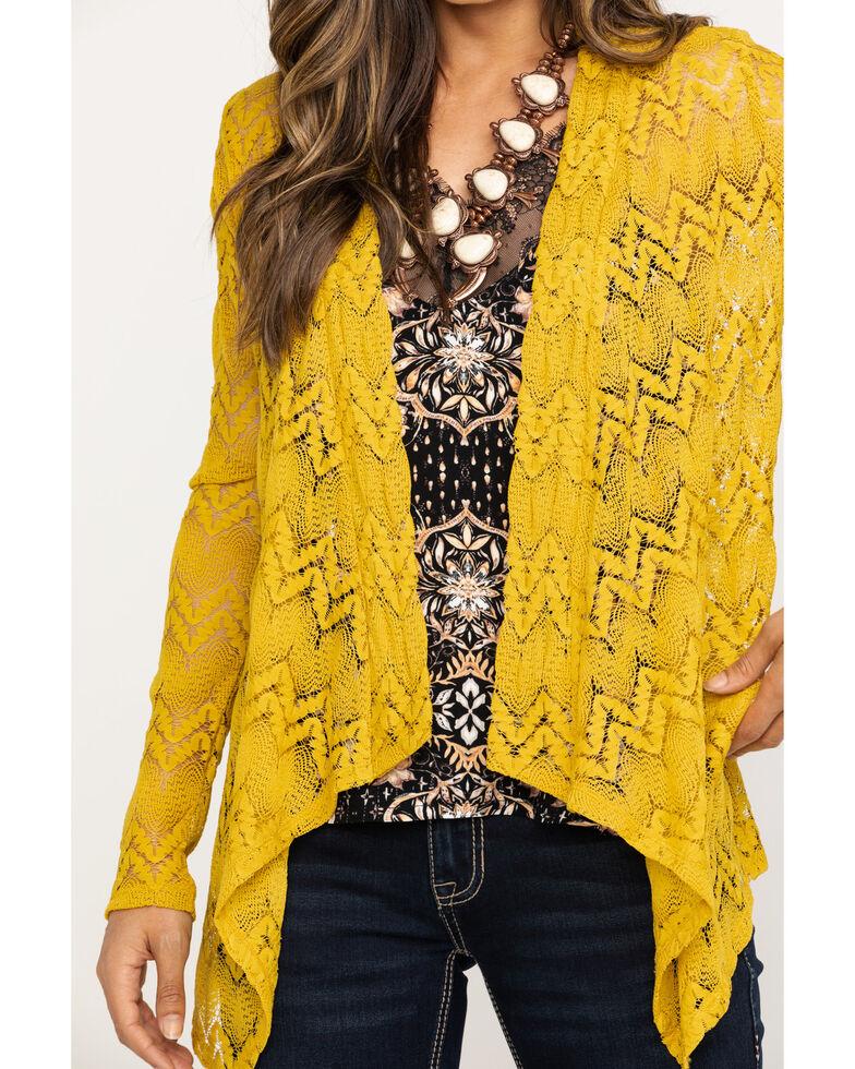 Rock & Roll Cowgirl Women's Chevron Hanky Cardigan, Dark Yellow, hi-res