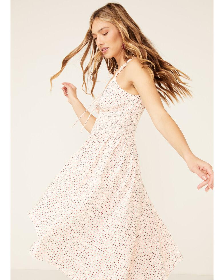 Beyond The Radar Women's Blush Dot Smocked Waist Dress, Blush, hi-res