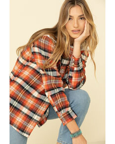 Wrangler Retro Women's Lace Yoke Plaid Long Sleeve Western Flannel Shirt , Rust Copper, hi-res