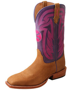 Twisted X Women's HOOey Western Boots - Wide Square Toe, Chocolate, hi-res