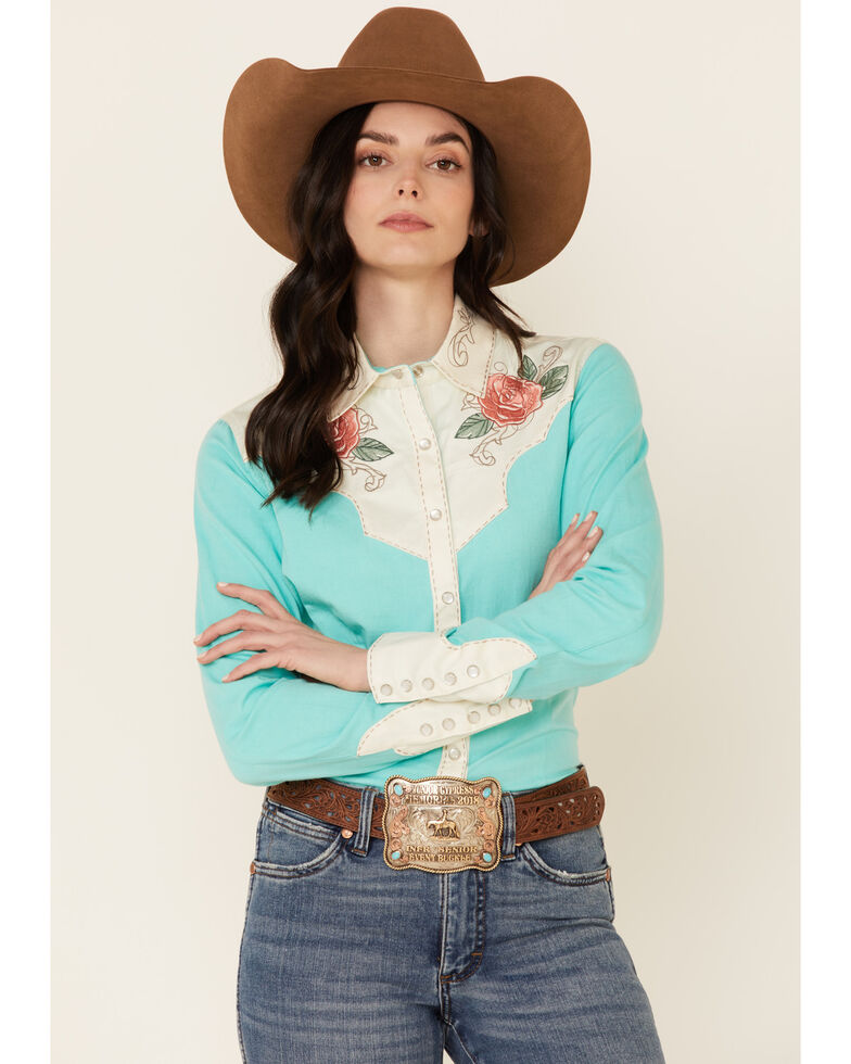 Rock & Roll Denim Women's Turquoise Rose Embroidered Long Sleeve Snap Western Shirt , Turquoise, hi-res