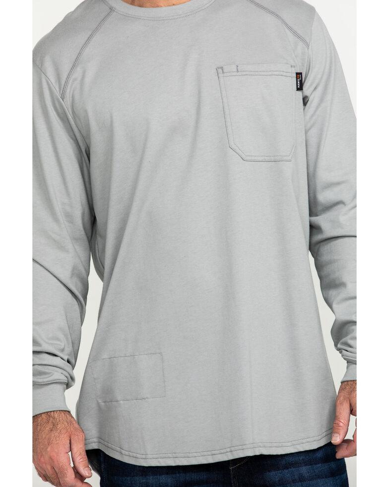 Hawx Men's Grey FR Pocket Long Sleeve Work T-Shirt - Tall , Silver, hi-res