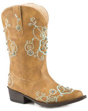 Roper Girls' Flower Sparkles Cowgirl Boots - Snip Toe, Tan, hi-res