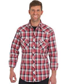 Wrangler Retro Men's Red Long Sleeve Plaid Shirt , Red, hi-res