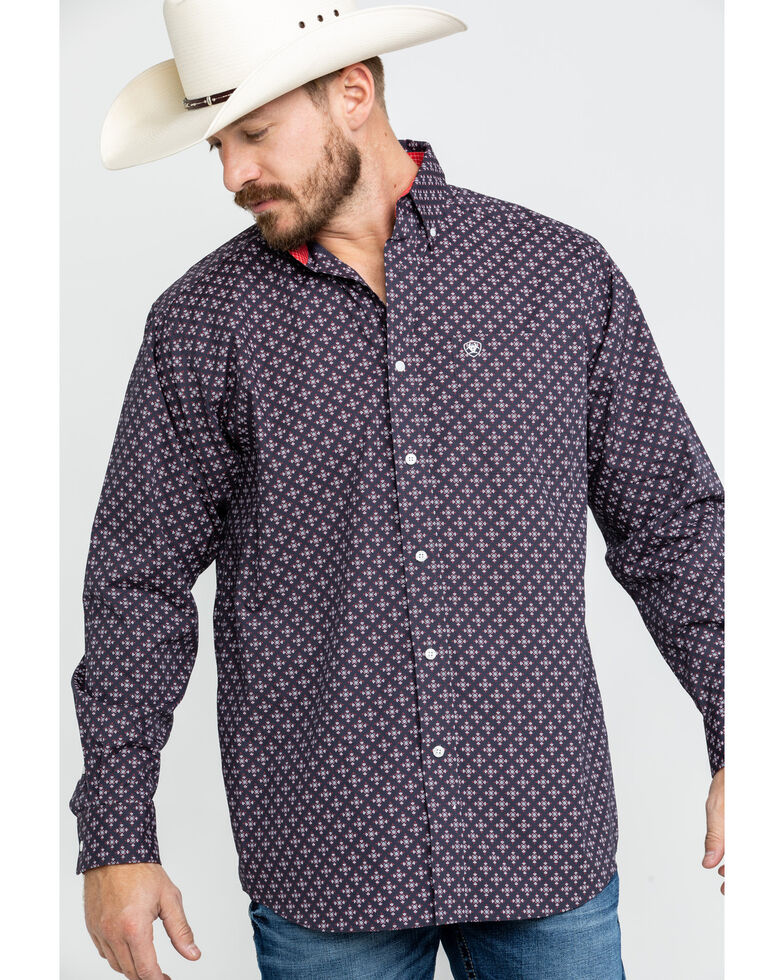 Ariat Men's Wrinkle Free Cleaves Geo Print Long Sleeve Western Shirt , Grey, hi-res