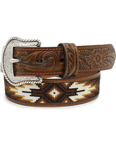 Nocona Boys' Brown Tribal Stitched Western Belt, Tan, hi-res