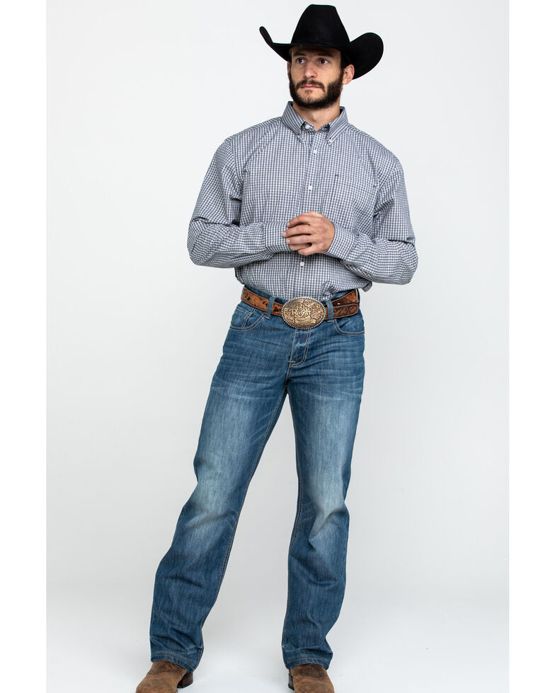 Cody James Core Men's Stonewall Small Plaid Long Sleeve Western Shirt - Big , Grey, hi-res
