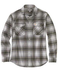 Carhartt Men's Rugged Flex Plaid Relaxed Long Sleeve Western Flannel Shirt - Tall, Grey, hi-res