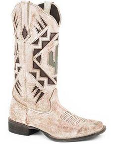 Roper Women's Creme White Antique Western Boots - Round Toe, Tan, hi-res