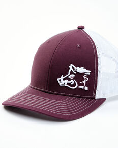 Oil Field Hats Men's Maroon & White Sniper Pig Embroidered Mesh-Back Ball Cap , Maroon, hi-res