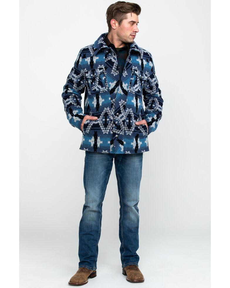 Powder River Outfitters Men's Aztec Wool Jacquard Jacket , Blue, hi-res
