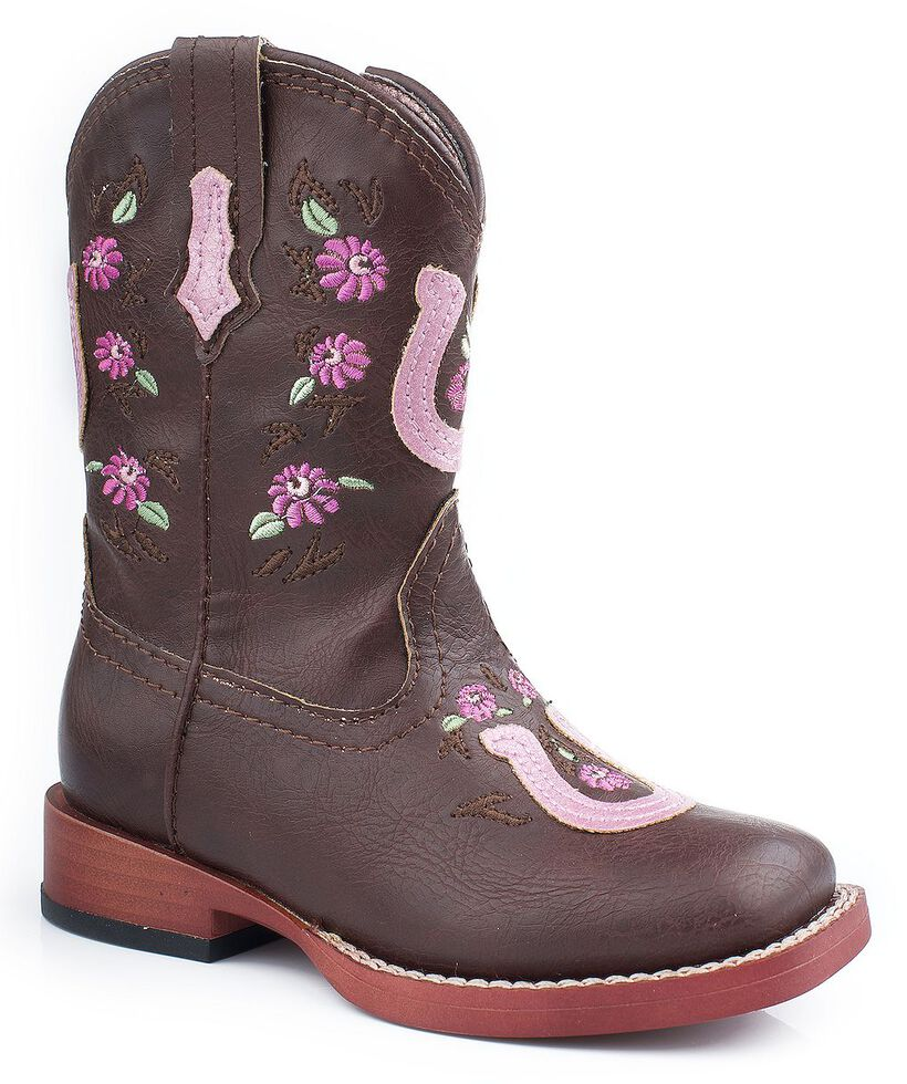 Roper Toddler Girls' Horseshoe Flower Embroidered Cowgirl Boots, Brown, hi-res