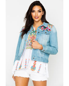 Johnny Was Women's Naena Denim Jacket , Indigo, hi-res