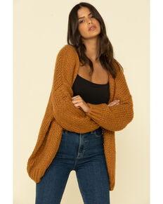 Elan Women's Rock & Love Cardi Sweater , Cognac, hi-res