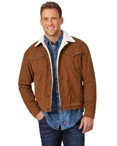 Wrangler Men's Corduroy Monks Robe Sherpa Lined Trucker Jacket , Brown, hi-res