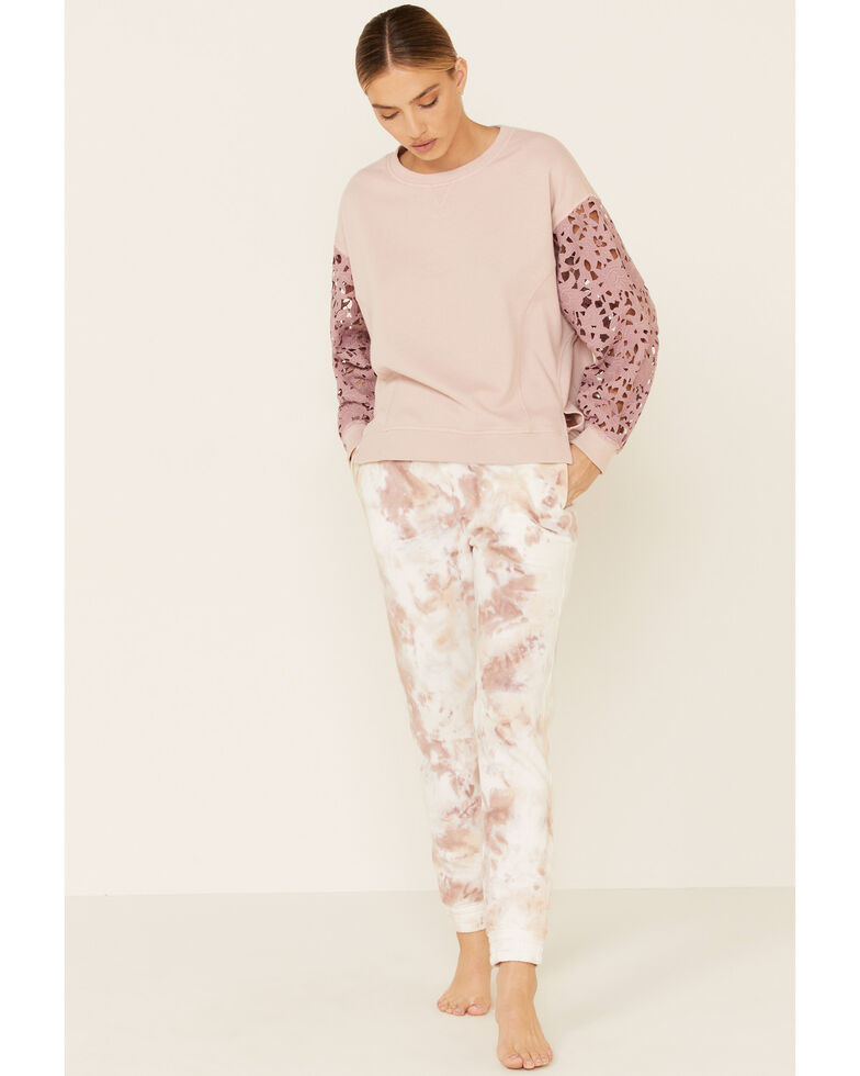 Beyond The Radar Women's Blush Fleece Lace Long Sleeve Top , Blush, hi-res