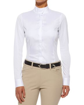 Ariat Triumph Long Sleeve Show Top, White, hi-res