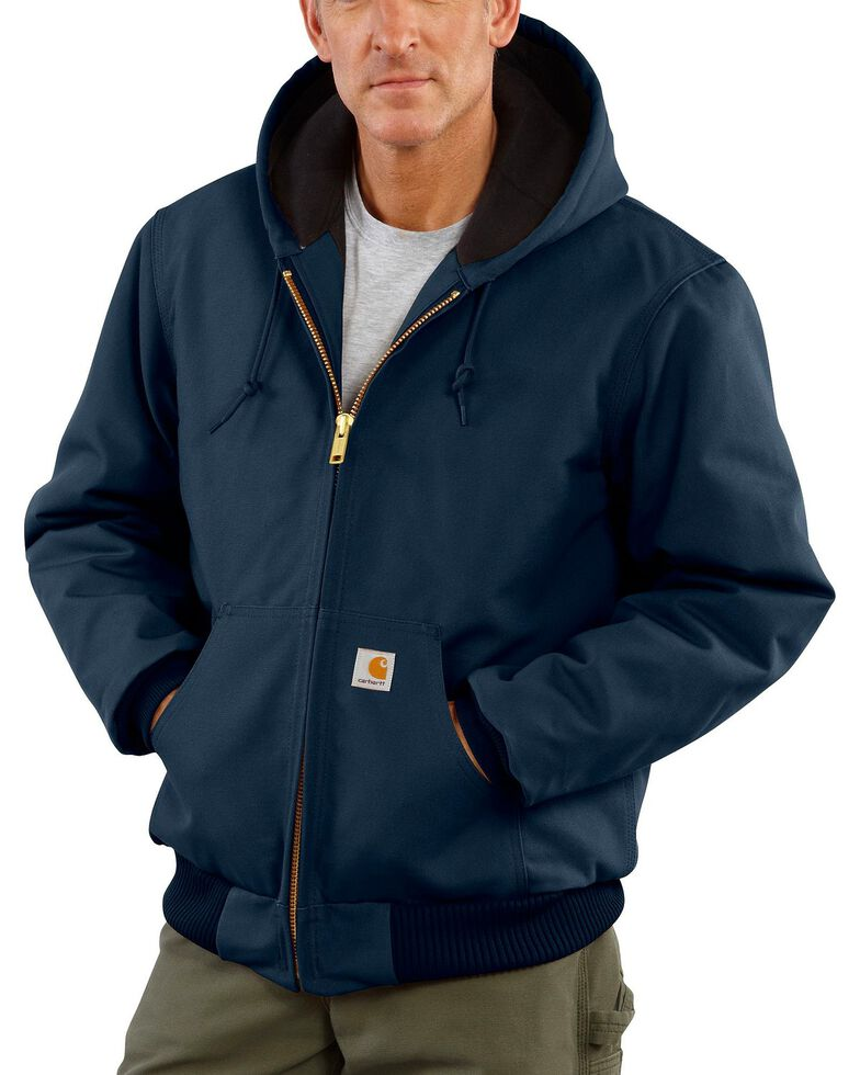 Carhartt Quilted Flannel Lined Duck Active Jacket, Navy, hi-res