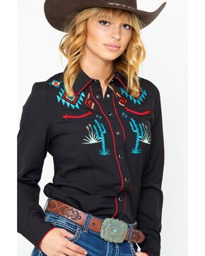 Roper Women's Aztec Long Sleeve Western Shirt, Black, hi-res