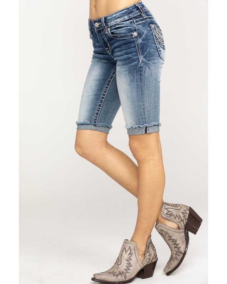 Miss Me Women's Open Pocket Flap Shorts, Light Blue, hi-res