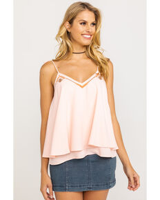Ariat Women's Sugar Peach Tie Tank Top, Peach, hi-res