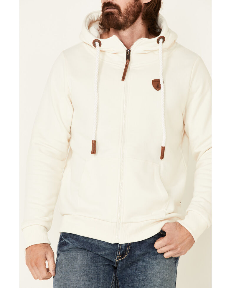 Wanakome Men's Solid Oatmeal Zeus French Terry Zip-Front Hooded Sweatshirt , Oatmeal, hi-res