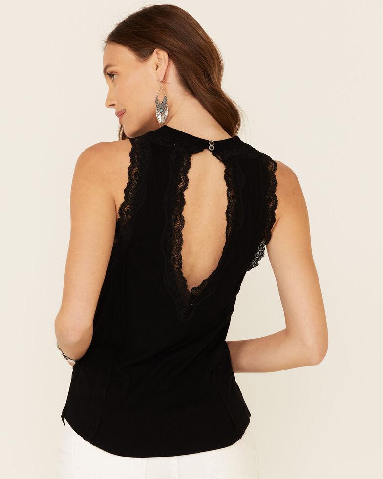 Rock & Roll Denim Women's Black High Neck Lace Inset Tank Top , Black, hi-res