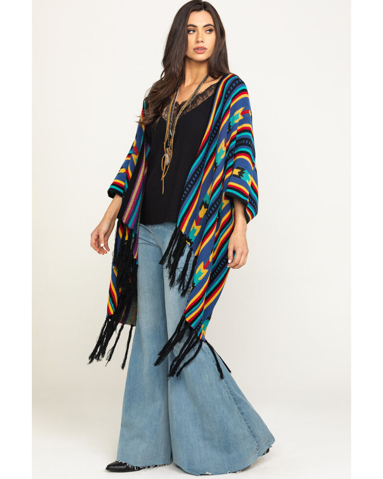 Rock & Roll Cowgirl Women's Colorful Aztec Fringe Poncho, Multi, hi-res