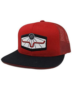 Kimes Ranch Men's Red Rays Original Logo Patch Mesh-Back Trucker Cap, Red, hi-res