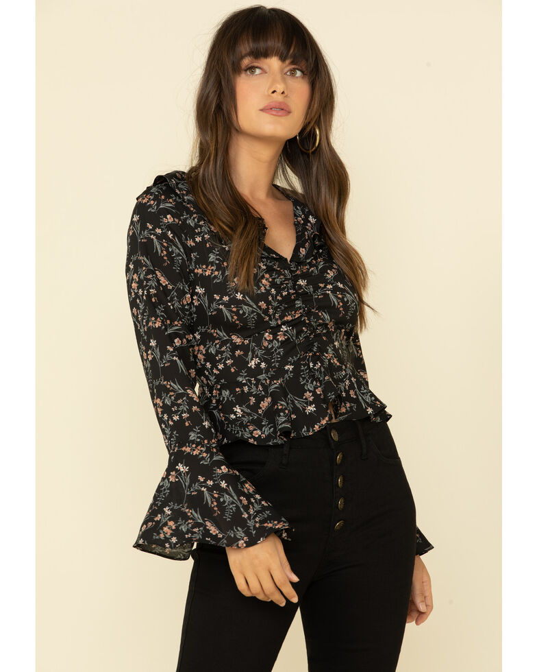 Very J Women's Floral Print Ruffle Bell Sleeve Peasant Top , Black, hi-res