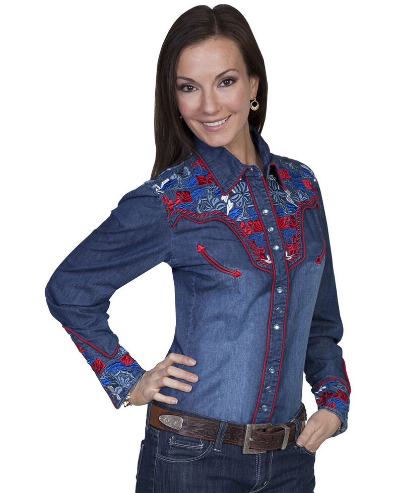 Scully Women's Floral Embroidered Western Shirt, Denim, hi-res