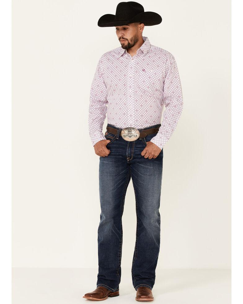 Wrangler Men's Classic Small Geo Print Long Sleeve Button-Down Western Shirt , Purple, hi-res