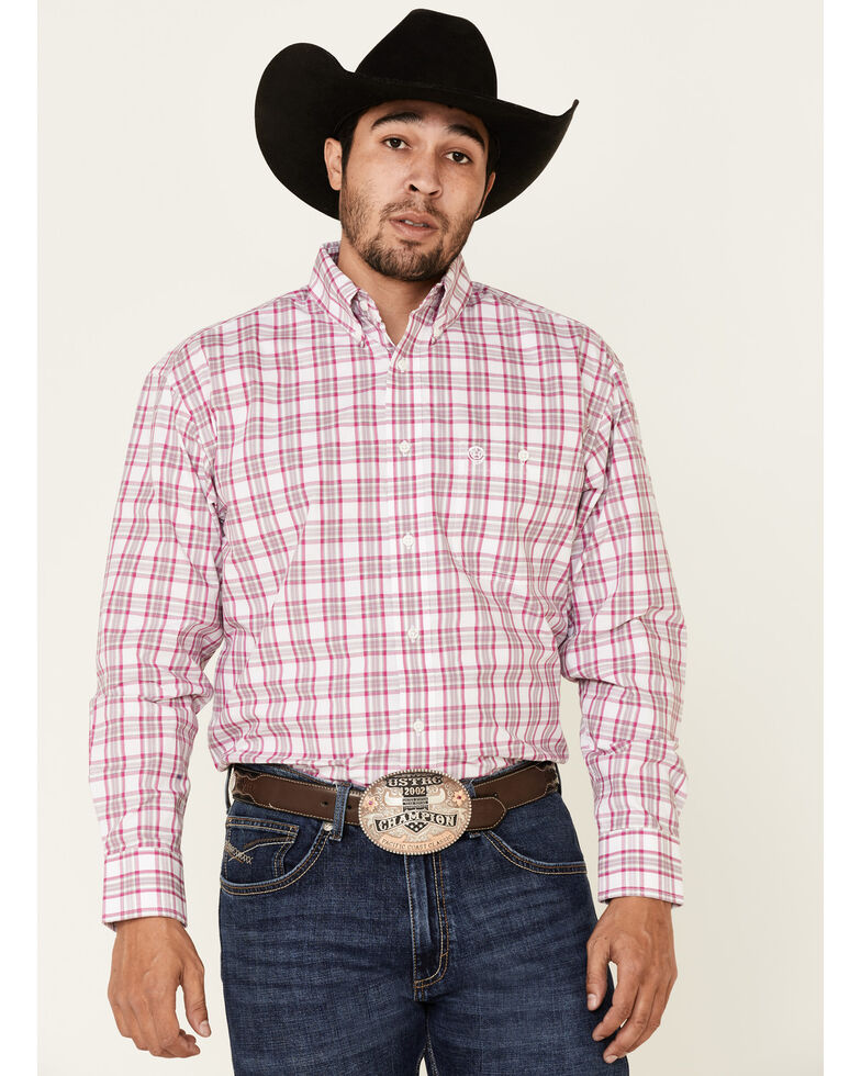 George Strait By Wrangler Men's White Small Plaid Long Sleeve Button-Down Western Shirt - Big, White, hi-res