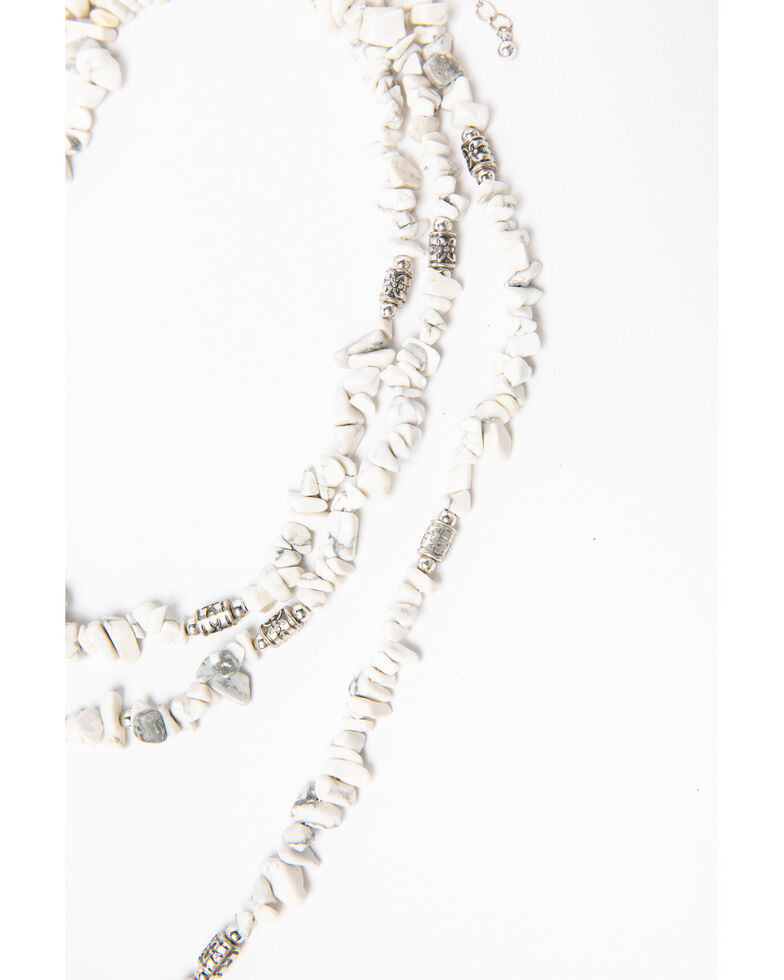 Shyanne Women's White Falls Chunky White Feather Charmed Necklace, Silver, hi-res