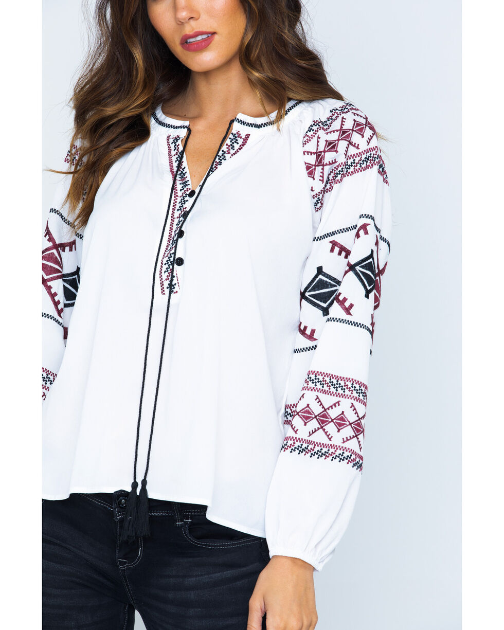 Miss Me Women's White Embroidered 4 Button Peasant Top , White, hi-res