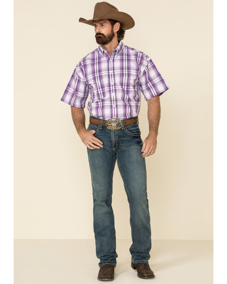 Panhandle Select Men's Purple Yarn Dye Plaid Short Sleeve Western Shirt , Purple, hi-res