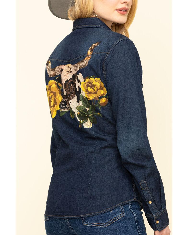 Rodeo Quincy Women's Black Libby Steer Head Denim Shirt, Black, hi-res